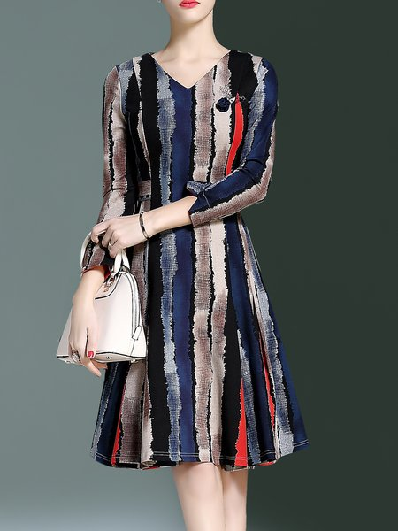 Multicolor Long Sleeve Cotton-blend A-line V Neck Midi Dress