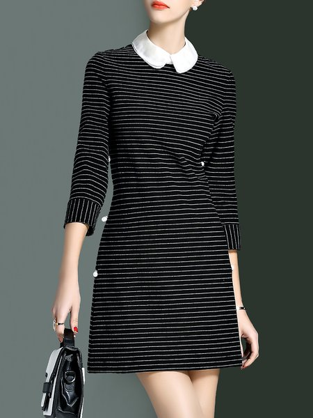 Black 3/4 Sleeve Cotton-blend Stripes Mini Dress