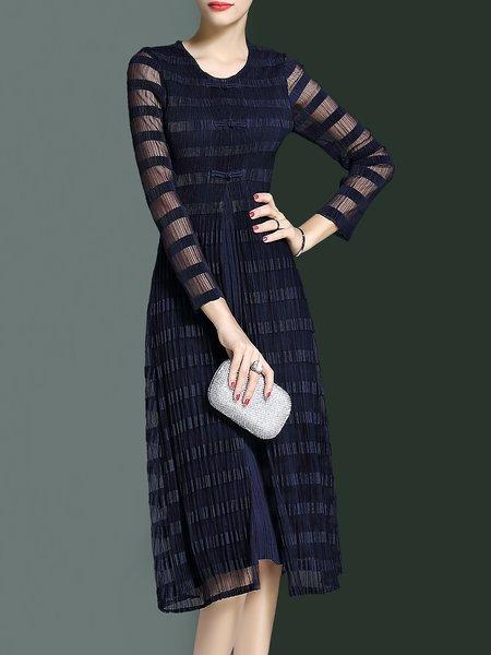 Long Sleeve Crew Neck Elegant Midi Dress
