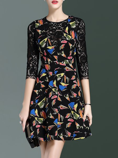 Black 3/4 Sleeve Floral Lace Paneled Mini Dress
