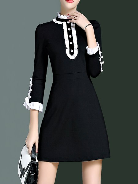 Black Simple Ruffled Mini Dress