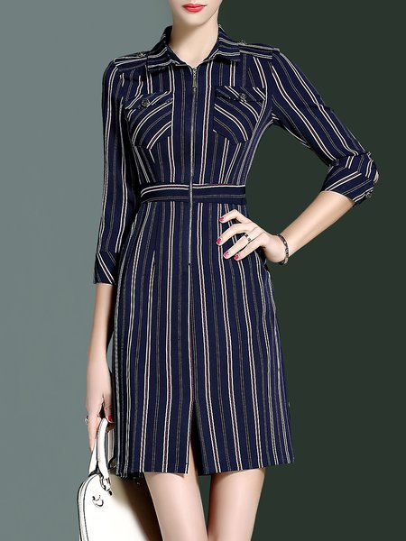 Printed Simple Polyester 3/4 Sleeve Stripes Mini Dress