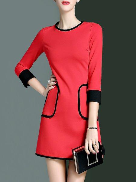 3/4 Sleeve Cotton-blend Pockets Simple Sheath Mini Dress