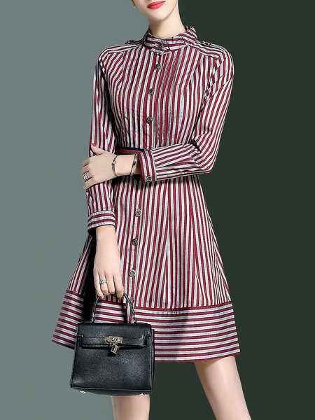 Red Casual A-line Stripes Printed Shirt Dress with Belt