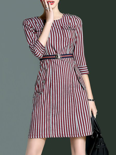 Red Crew Neck Pockets Simple Stripes Midi Dress with Belt