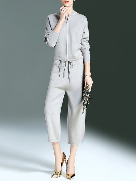 Gray Casual Plain Pockets Two Piece Jumpsuit