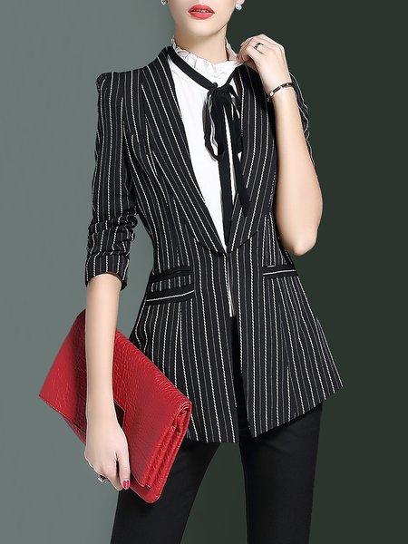 Black Printed 3/4 Sleeve Stripes A-line Blazer