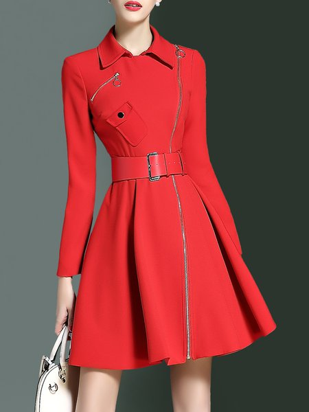 Simple Plain Zipper Long Sleeve Mini Dress with Belt