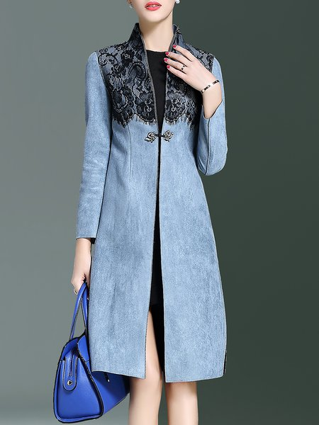 Blue Polyester Lace Paneled Slit  A-line Long Sleeve Coat