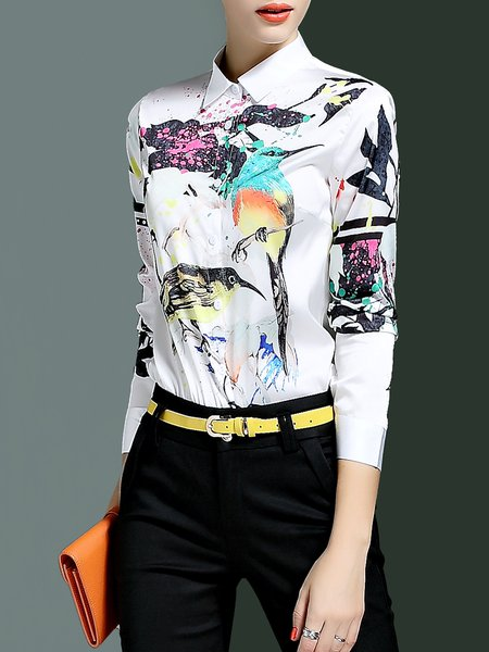 Multicolor Long Sleeve Animal Print Blouse
