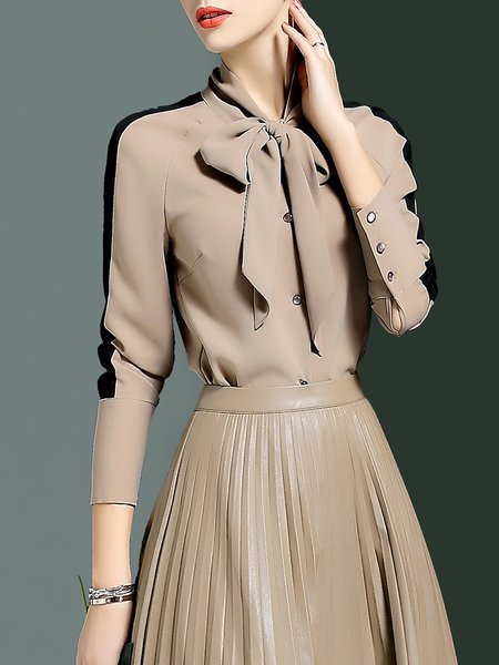 Long Sleeve Plain Elegant Stand Collar Bow Blouse