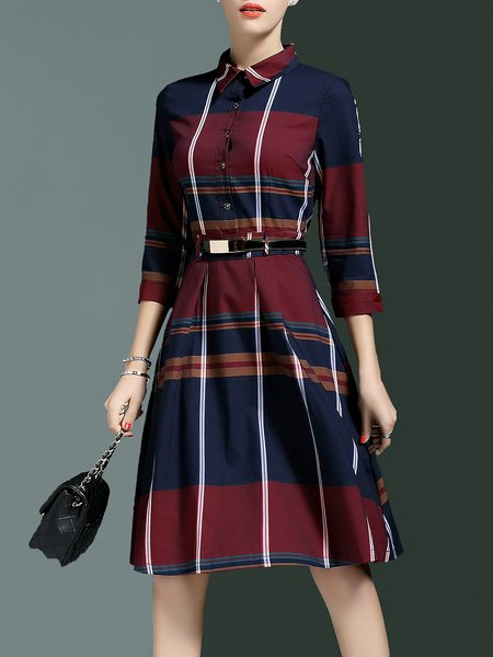 Plaid Cotton-blend 3/4 Sleeve Shirt Dress With Belt