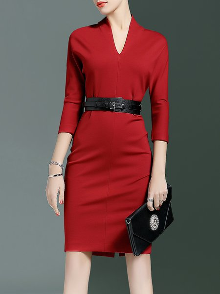 Red Solid Bodycon V Neck Formal Midi Dress With Belt