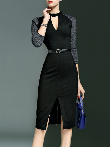 Elegant Bodycon Cotton-blend Keyhole Midi Dress With Belt