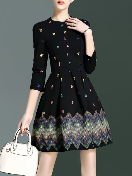 3/4 Sleeve Embroidered A-line Elegant Crew Neck Mini Dress