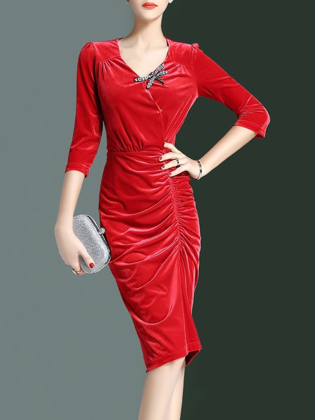 Beaded V Neck Half Sleeve Ruched Elegant Midi Dress