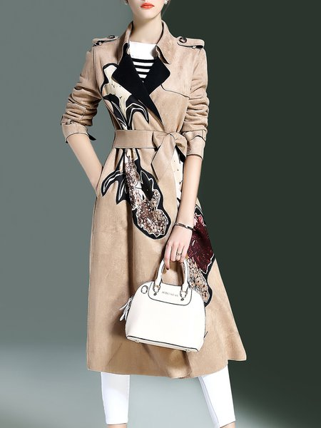 Foral Long Sleeve Lapel Simple Polyester Appliqued Coat