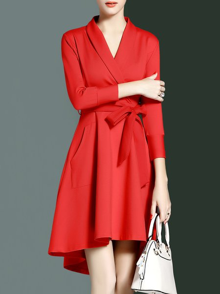 Bow Cotton-blend Long Sleeve Elegant High Low Midi Dress