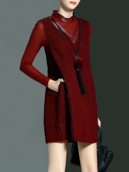 Mesh Paneled Long Sleeve Midi Dress with Necklace