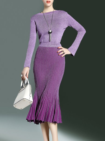 Elegant Mermaid Crew Neck Wool Blend Long Sleeve Two Piece Midi Dress