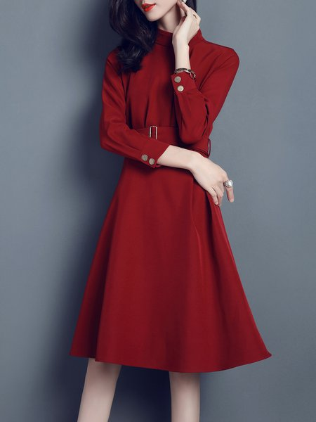 Stand Collar Casual Folds 3/4 Sleeve Midi Dress