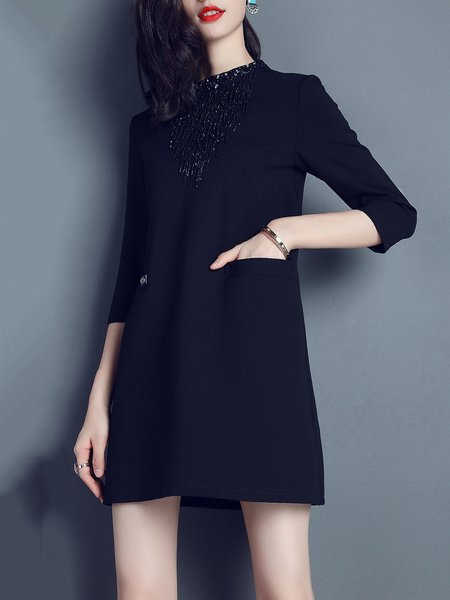 3/4 Sleeve Solid Cotton-blend Casual Fringed Mini Dress