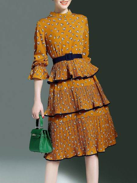 A-line Tiered Pleated Frill Sleeve Casual Midi Dress with Belt