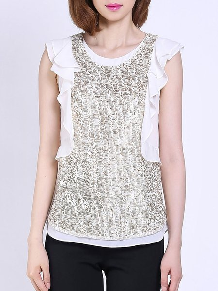 Golden Glitter-finished Casual Blouse