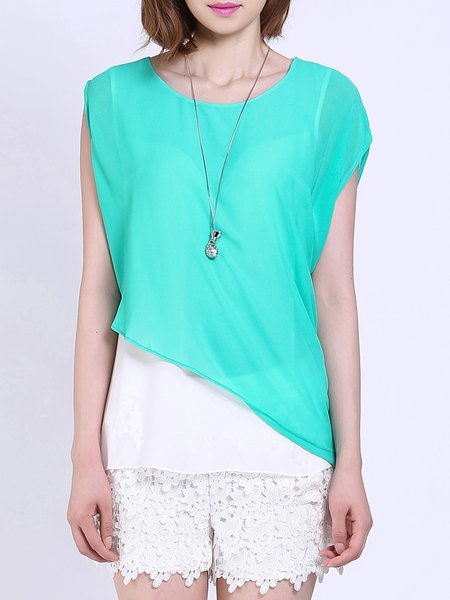 Green Casual Color-block Crew Neck Chiffon Blouse