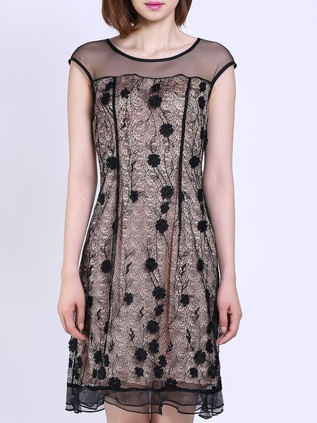 Black Short Sleeve Floral Embroidered Polyester Midi Dress