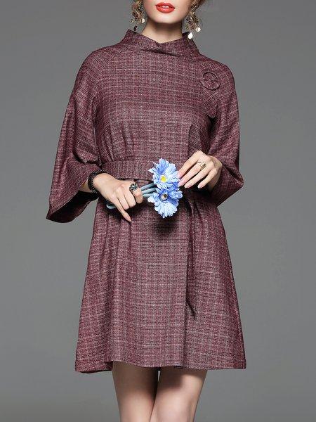 Crimson Stand Collar Elegant Checkered/Plaid Midi Dress
