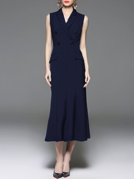 Navy Blue Elegant Mermaid Midi Dress