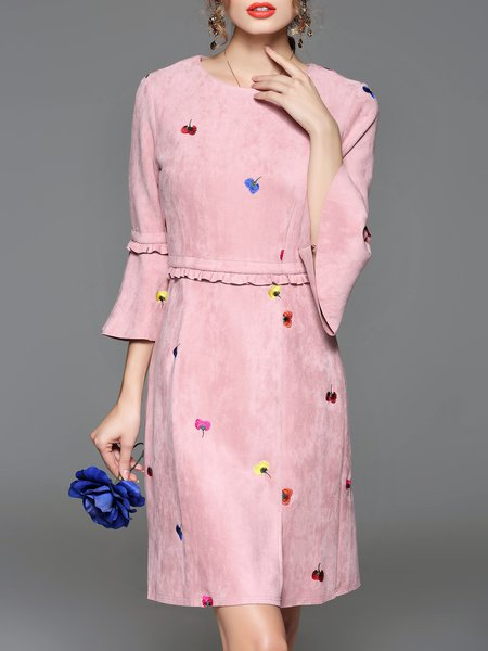 Pink Frill Sleeve Slit Floral-embroidered Midi Dress