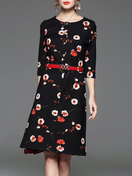 3/4 Sleeve Crew Neck Floral-print Vintage Midi Dress