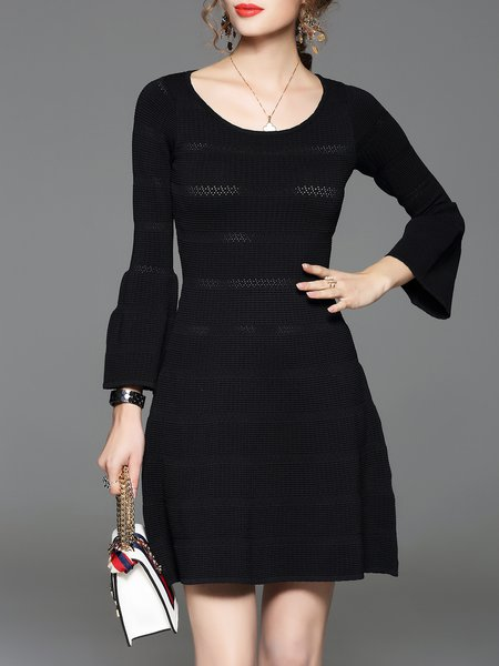 Black Balloon Sleeve Knitted A-line Mini Dress