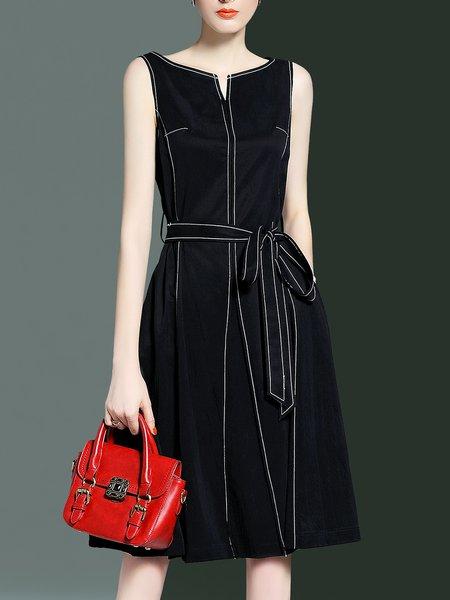 Black  A-line Sleeveless Midi Dress