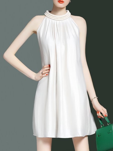 Beige Sleeveless Shift Midi Dress
