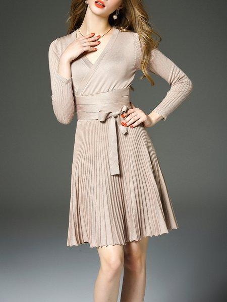 Apricot Cotton V Neck Long Sleeve Plain Midi Dress