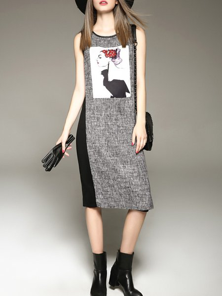 Gray H-line Graphic Printed Casual Color-block Midi Dress