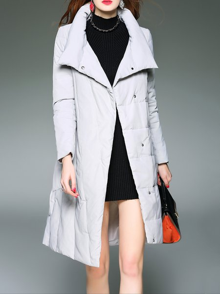 Light Gray Long Sleeve Solid Down Coat
