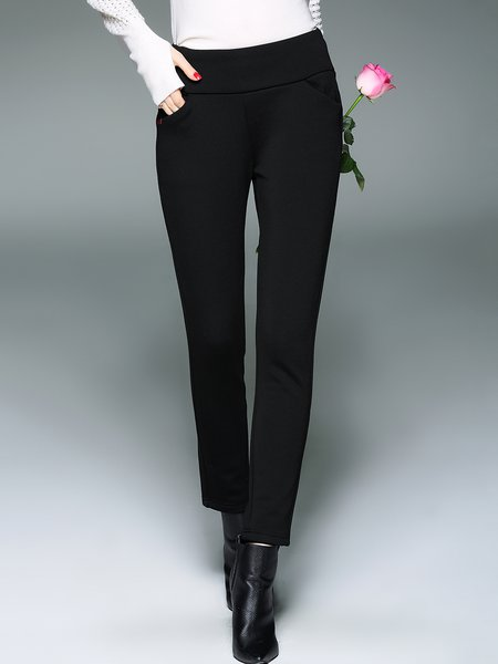 Black Simple Symmetric Solid Cotton-blend Straight Leg Pants