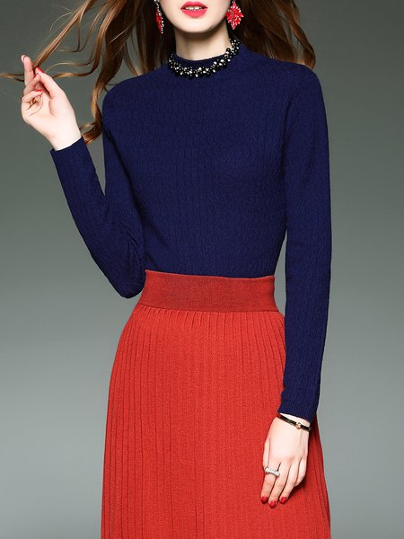 Wool Blend Plain Long Sleeve Casual Sweater