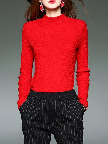 Long Sleeve Casual Wool Blend Plain Sweater