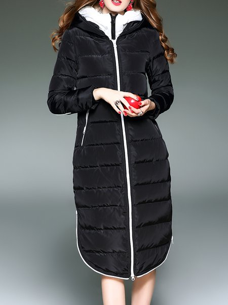 Black Color-block Casual Down Coat