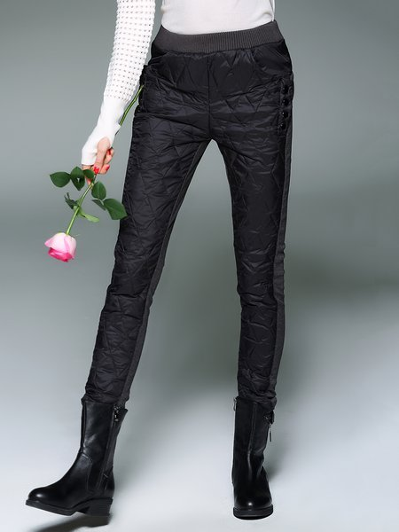 Black-grey Casual Color-block Skinny Leg Pants