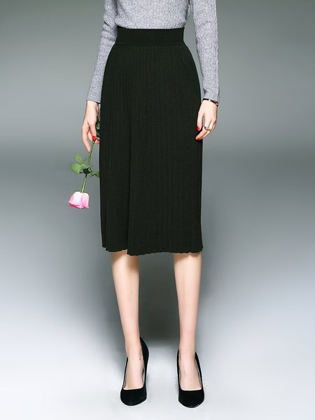 Dark Green Wool Blend Pleated Simple H-line Midi Skirt