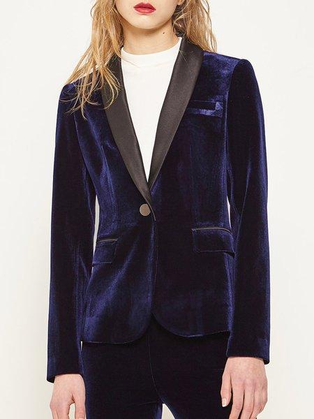 Blue Solid Long Sleeve Blazer
