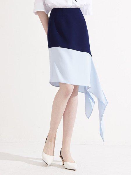 Color-block Asymmetric Solid Statement Midi Skirt