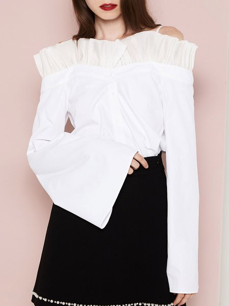 White Girly Solid Cold Shoulder Long Sleeved Top