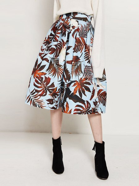 Light Blue Leaf Print Girly A-line Midi Skirt